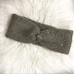 H&M Tan Knit Twist Knot Head Wrap w Sequins